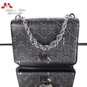 Michael Kors Silver Black Leather Crossbody